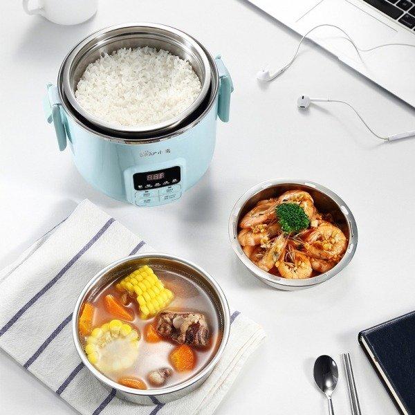 智能电蒸煮饭盒迷你电饭煲电火锅 可插电 蒸煮加热 2L