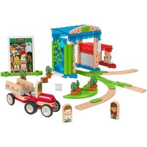 3折 $10.74(ToysRus$34.98)白菜价:Fisher-Price费雪 木质城市轨道积木 75件套装 手慢无!