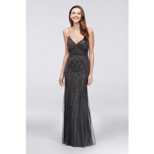 c1f8895ebcdc Davids BridalDeco Beaded Mesh A-Line Gown with Godet Skirt | David's Bridal