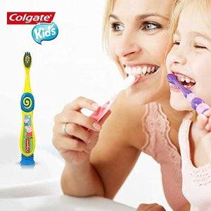 $4.72(原价$5.97)Colgate 儿童柔软刷毛牙刷 2支 吸盘固定 小猪佩奇图案