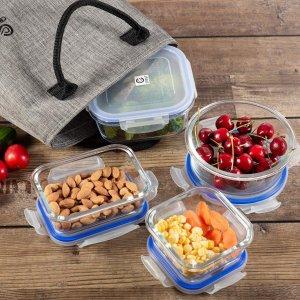 $29.74(原价$34.99)玻璃保鲜盒8件+午餐包 密封优秀安全易清洁