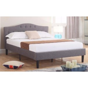 Josh Classic Tufted Fabric Bed - Grey