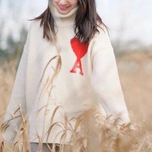 Ami100%羊毛!白色爱心毛衣