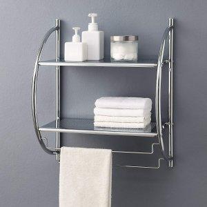 Organize It All 1753W-B 2 Tier Chrome Bathroom Shelf