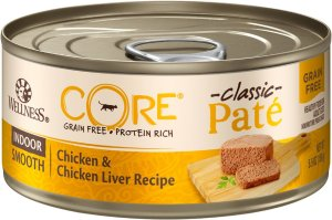 Wellness CORE Grain-Free Indoor Chicken & Chicken Liver Recipe Canned Cat Food, 5.5-oz, case of 24 - Chewy.com