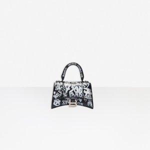 BalenciagaHourglass XS Top Handle Bag BLACK / WHITE for Women | Balenciaga