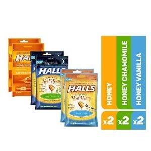 $6.4 平均1包仅$1.08Halls 蜂蜜柠檬止咳润喉糖 6包入 3种口味