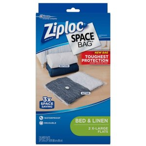 Ziploc Space Bag, XL Flat Bag, 2 Count