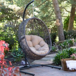 $206Island Bay Resin Wicker Hanging Egg Chair with Cushion and Stand