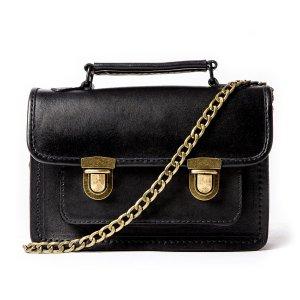 Small Black Leather Satchel Style Handbag by Beara Beara