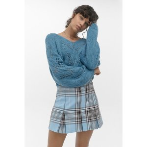 Urban Outfitters湖蓝色v领毛衣