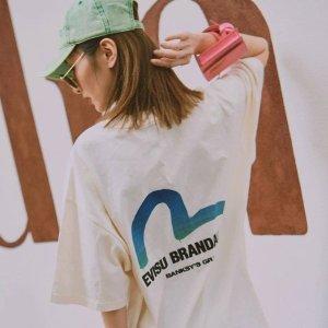 5折起+额外8折 OversizedT恤$58Evisu官网 男女通吃的百搭T恤专场 3D海鸥标T恤$62