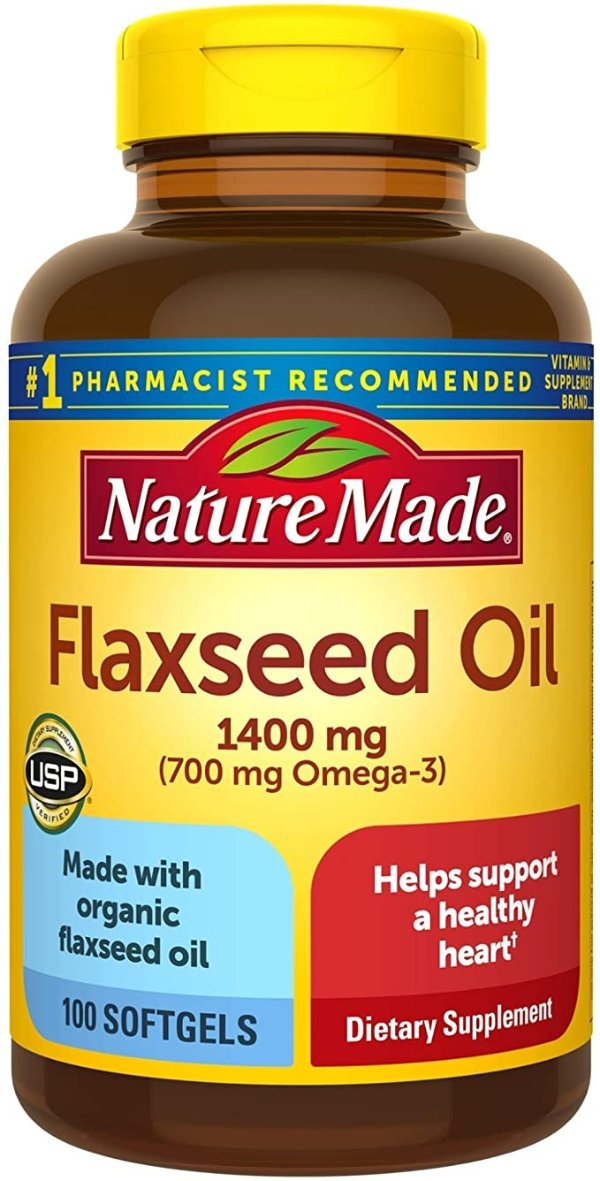Flaxseed 亚麻仁油胶囊 1400 mg Softgels, 100 粒