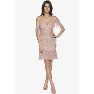 Bardot粉色流苏连衣裙