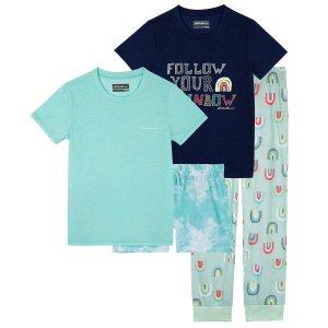 Eddie BauerBauer Youth 4-piece Sleepwear Set, Aqua