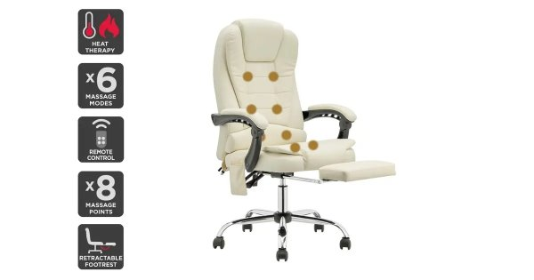 Saratoga 8 Point Heated Vibrating Massage Office Chair (White)   Chairs  