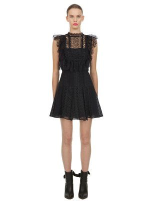 Self-Portrait Black Lace Panel Flare Mini Dress