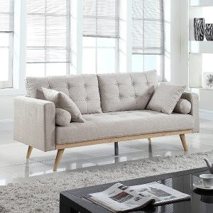 Casa Andrea Milano llc Mid Century Modern Tufted Upholstered Fabric Sofa Couch, Ash