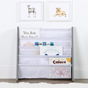 Amazon Tot Tutors WO671 Kids Book Rack Storage Bookshelf, Grey/White