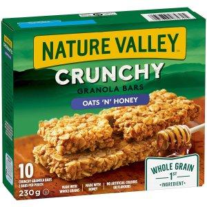每包 $0.17 价格秒杀沃尔玛史低价:NATURE VALLEY 谷物能量棒 燕麦蜂蜜味 10个装