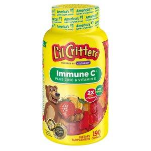 $9.88 包邮 有效提高免疫力!Lil Critters 免疫C+锌+紫雏菊 190粒 新包装VD含量加倍更有效