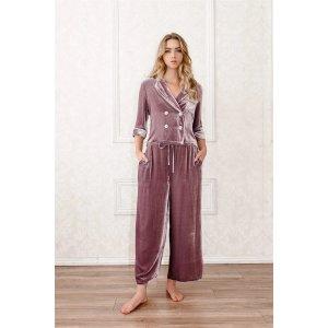 CloroomSilk-Velvet Double-Breasted Pajama Top-Mauve Sea Fog