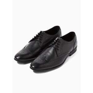 TopmanBlack Leather 'Bryant' Brogues