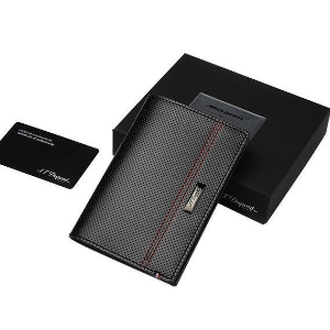 $79S.T. DUPONT Glossy Black Defi Perforated Leather Passport Holder
