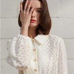低至7折+额外9折W Concept 4月热单 $111收封面同款蕾丝衬衫 连衣裙$82