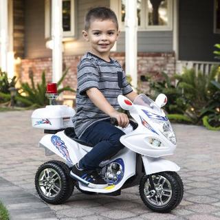 6V Kids Ride-On Police Motorcycle w/ 3 Wheels, Storage - White