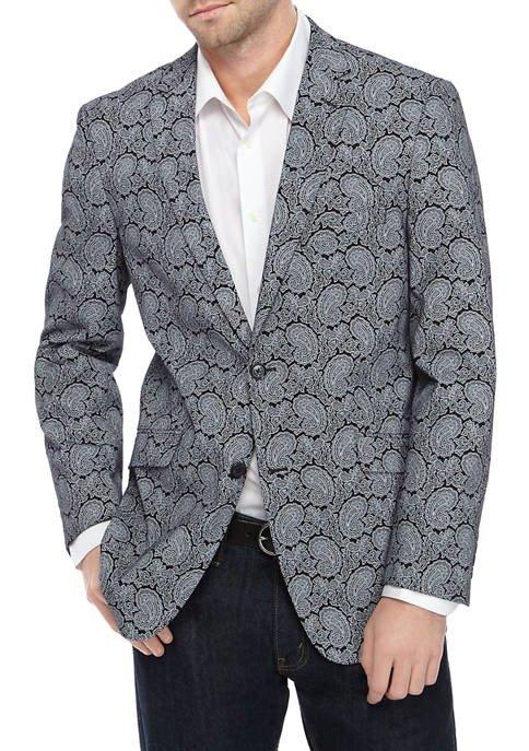 Men's Black 印花西装外套