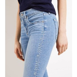 LOFTEmbroidered Vine Soft Slim Pocket Skinny Crop Jeans in Vivid Light Indigo Wash | LOFT