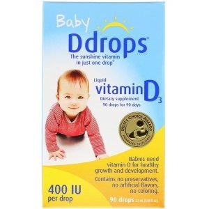 Ddrops婴儿,液体维生素D3,400国际单位,0.08液量盎司(2.5毫升)