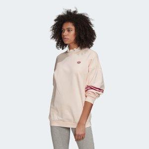 Adidas粉色三叶草卫衣