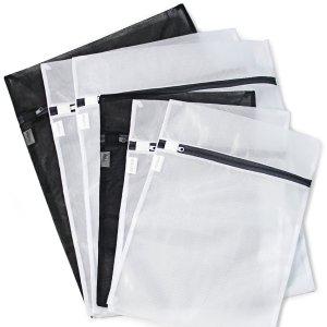 $5 6 Pack (3 Medium & 3 Large) - HOPDAY Delicates Mesh Laundry Bag, Bra Lingerie Drying Wash Bag ( Black & White) with Zipper