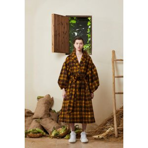 Puff Sleeve Maxi Mohair Coat - Plaid