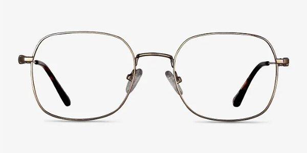 金边方框眼镜