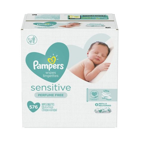 Pampers Sensitive Water-Based Baby Diaper Wipes, 9 Refill Packs for Dispenser Tub - 576 Count