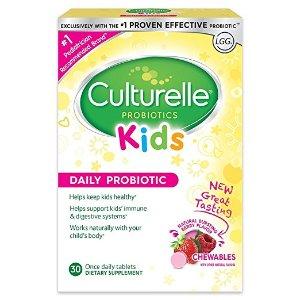 $13.19 (原价$16.34) + 包邮Culturelle 儿童益生菌咀嚼片 30片 改善肠道健康