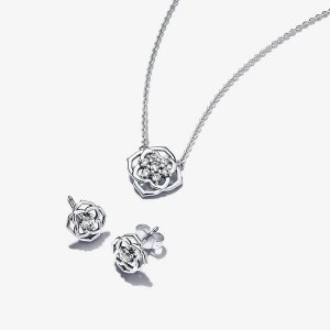 PandoraRose 玫瑰项链耳钉套装