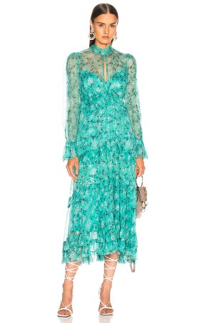 Zimmermann Moncur Gathered Frill Dress in Turquoise Mini Bloom | FWRD