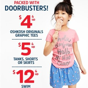 $4 & Up Tees, Tanks, Shorts, & Skirts Doorbuster @ OshKosh BGosh