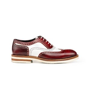 Red Polished White Shiny Leather Woman Oxford | DIS