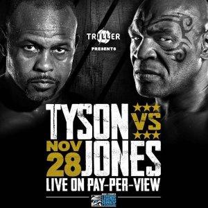 11/28 美东晚9点, 门票$50拳王争霸!迈克·泰森 VS 小罗伊·琼斯 百岁大战, 官方在线直播