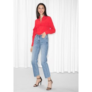 Straight Fit Light Wash Jeans - Blue  - & Other Stories