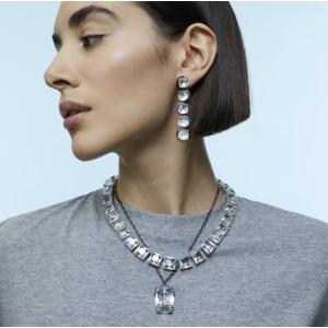 SwarovskiHarmonia Drop earrings, Cushion cut floating crystals, White, Rhodium plated by SWAROVSKI