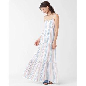 条纹吊带连衣裙