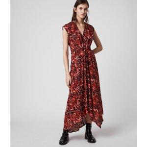 ALLSANTS国内¥2500红色豹纹连衣裙
