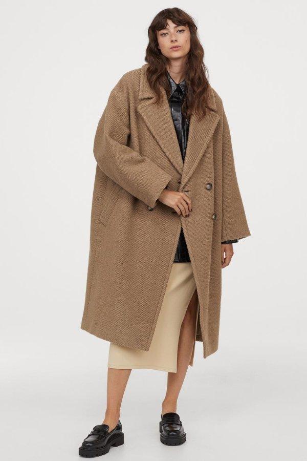 羊毛翻领大衣