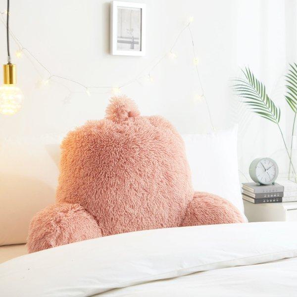 珊瑚粉长绒靠枕
